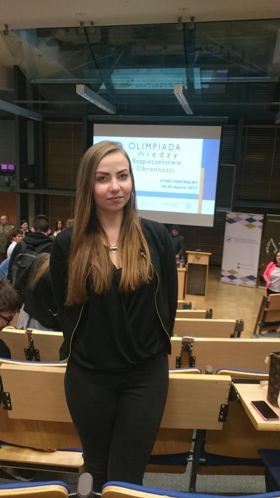 Uczennica  ZSP Kościelec na etapie centralnym olimpiady