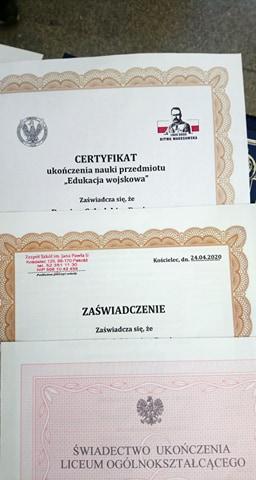 Pierwsze Certyfikaty MON i kolejny pilotaż klas wojskowych z ZS Kościelec