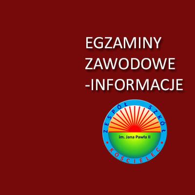 Informacje dotyczące egzaminów zawodowych